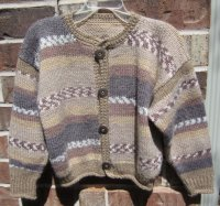 knit, crocheted edgings, mock-ribbing, Plymouth Encore Colorspun yarn, accent buttons,  youth, sweater