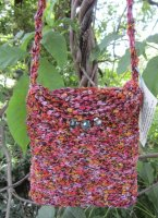 exotic yarn, textured, knit-woven, evening purse, wine colors,