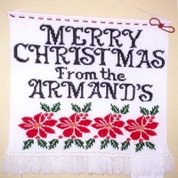 personalized, knit Christmas banner, wall hanging, glitter thread, beads