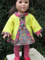 "doll, 18"", 18 inch, jacket, knitted, knit, yellow"