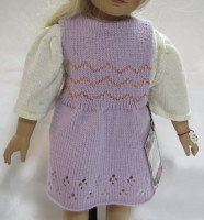 "18"" doll, jumper, lavender, ribbing, knitted, lace, smocking,"
